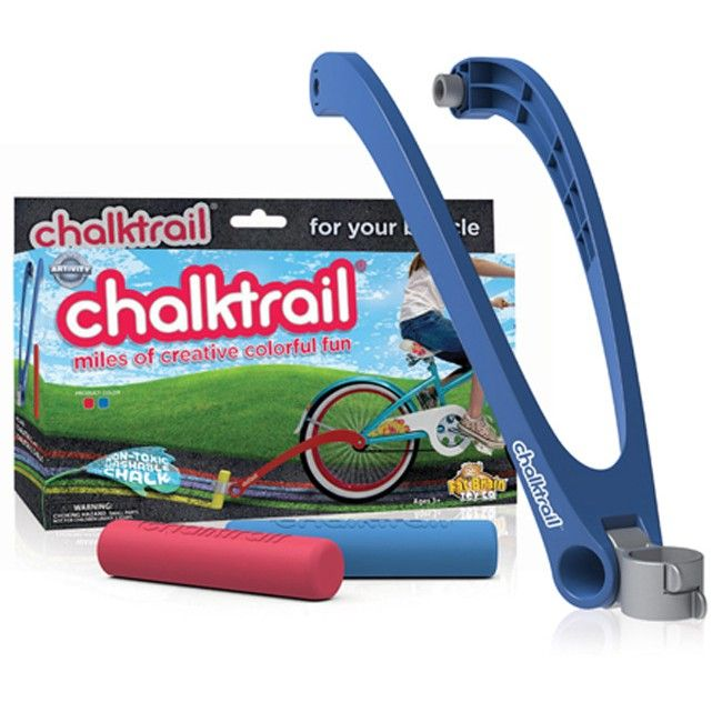 Nothing will motivate your little one to ride their bike more than Chalktrail! This awesome attachment allows them to leave their mark and cool designs as they ride. It's super easy to install and is also available for scooters. #entropytoys #active #getactive #chalktrail #bikeriding