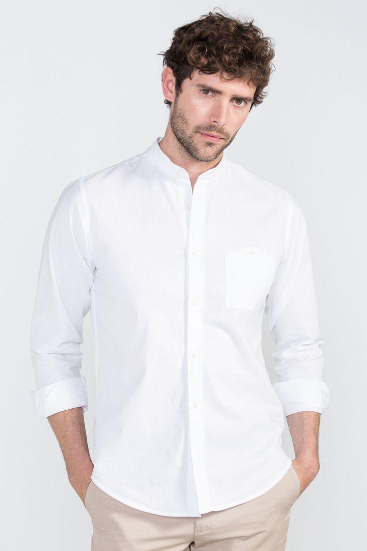Cortefiel Camisa cuello mao Blanco