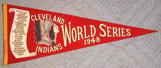 1948 Cleveland Indians World Series Pennant ~~ VERY exciting baseball season for the Indians