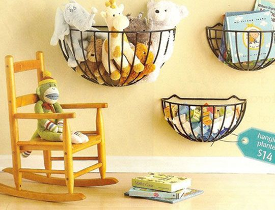 wire planters hold kids items...Love itStuffed Animals, For Kids, Wall Storage, Kids Room, Baskets, Toy Storage, Storage Ideas, Kids Toys, Toys Storage