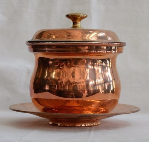 Copper-Pot-with-a-Lid-and-Plate-for-Stew-15-x-13cm-1kg-tin-plated-HANDMADE, картошка в горшочке