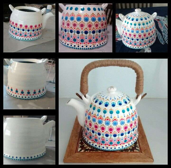 I upcycled my old teapot, using Pebeo ceramic paints, and hot glue with jute string for the handle. I love it.