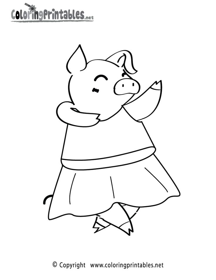 Dancing Pig coloring page printable