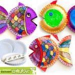 Laboratori per  bambini : pesciolini con i piatti di carta
