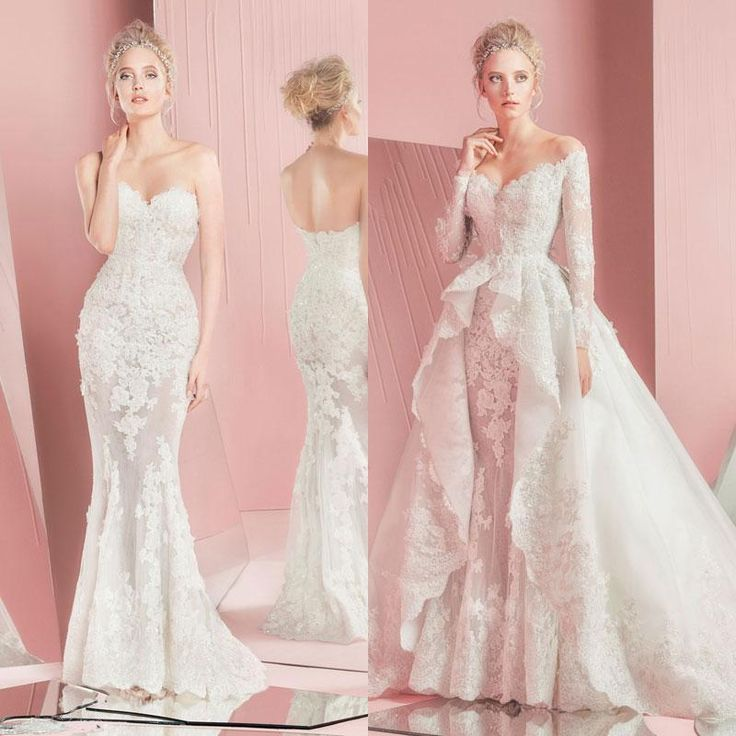 2016 Zuhair Murad Wedding Dresses Spring Lace Long Sleeves Sexy Off Shoulder Illusion Bodice Detachable Over Skirt Bridal Gowns Designer New Online with $167.54/Piece on Nameilishawedding's Store | DHgate.com