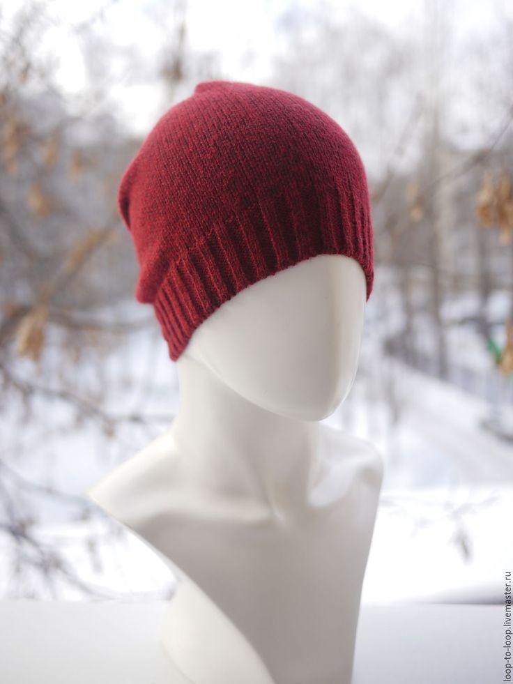 Купить Вязаная шапка - бордовый, однотонный, красный, шапка, шапочка, вязаная шапка, демисезонная шапка