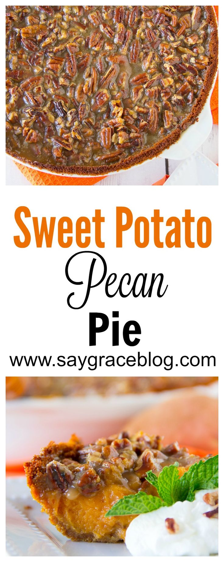 The traditional sweet potato pie goes up a notch when it's covered in a delicious, ooey-gooey pecan pie filling.