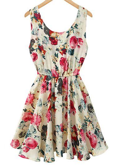 Sleeveless Floral Printed A Line Dress
