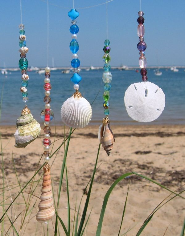 cute idea for making some wind chimes, shells & beads