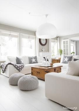 Grey and off white living room.  Modern country home style.