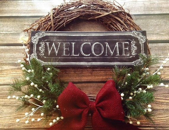 Welcome Holiday Rustic Grapevine Wreath with garland, pearls and a beautiful burlap bow! Holidays. Seasonal. Christmas. Winter. on Etsy, $48.00