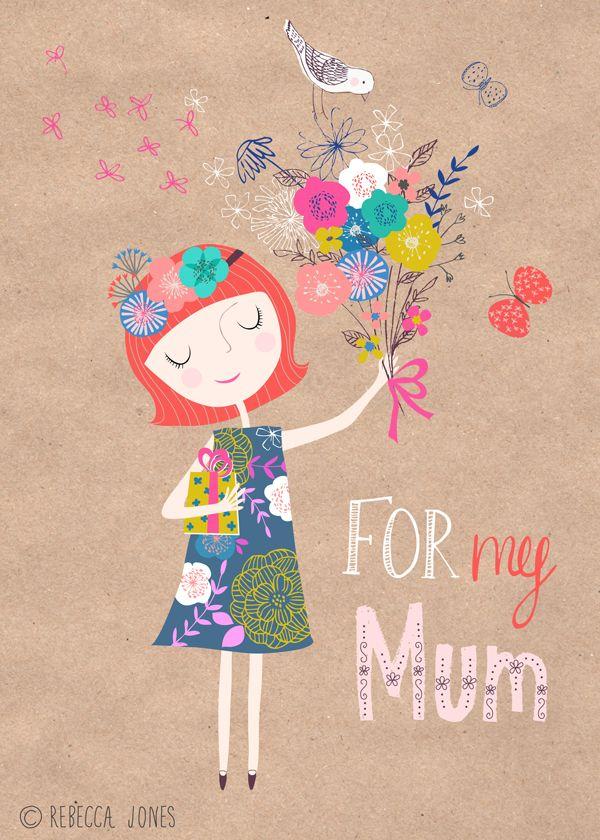 Rebecca Jones_ Mothers Day. Moederdag poster bloemen