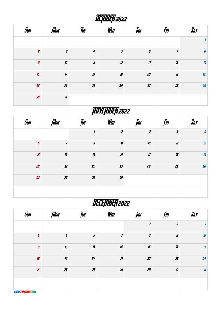 October November December 2022 Calendar Printable Free Q1 Q2 Q3 Q4 Printable Calendar July Calendar Printables August Calendar