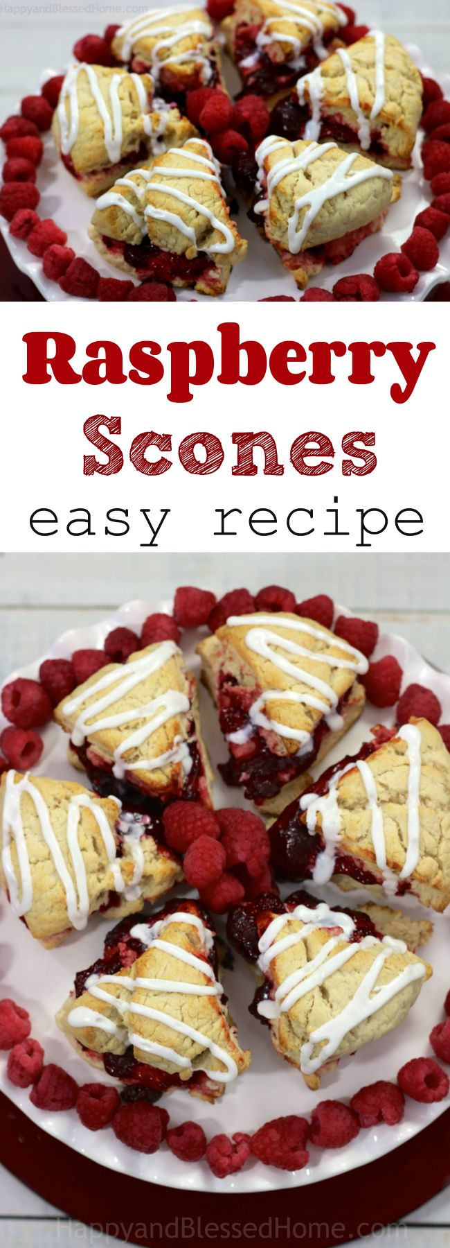 A dish pretty enough to decorate with - red and white raspberry scones! This easy recipe is perfect for holiday entertaining. I love the Christmas colors used here - including fresh raspberries and a super soft, buttery scone. Yummy!