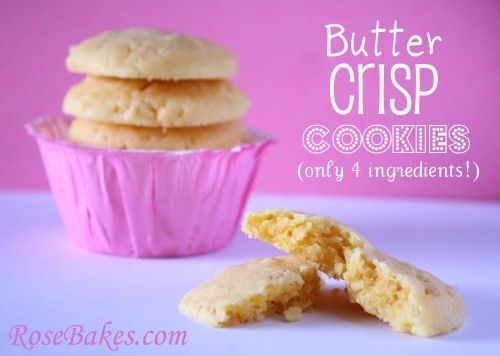 Butter Crisp Cookies... only 4 ingredients!  Click over to see the step-by-step (super EASY!) recipe :)Rice Cereal, Cake Mixes, Cookies Recipe, Butter Crisps, 4 Ingredients, Easy Recipes, Sweets Tooth, Crisps Cookies, Butter Cakes