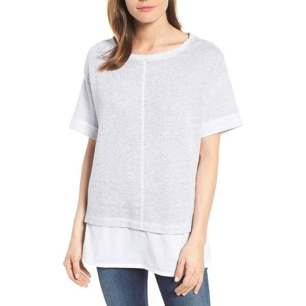 Petite Women's Caslon Woven Hem Tee ($49) ❤ liked on Polyvore featuring tops, t-shirts, petite, striped pullover, crew neck pullover, striped t shirt, petite tops and crew t shirts