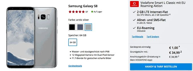 Günstiger Vertrag mit dem Samsung Galaxy S8 für 1,00 Euro zum Tarif Vodafone Smart L Classic im D2-Netz und erhalte dafür eine Allnet-Gesprächsflat in alle Netze inklusive EU-Roaming , SMS-Flat in alle dt.   #Android #Smartphone #Samsung #GalaxyS8