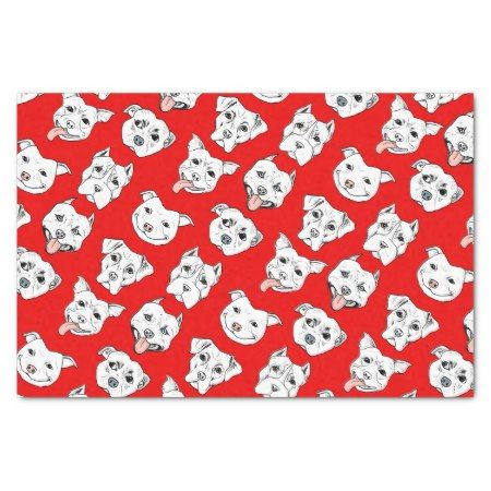 Pittie Pittie Please! Tissue Paper - tap, personalize, buy right now! #dog #dogs #dogLovers #pet #pets #pattern #patterns  #illustrations #illustration #wrapping #animal #animals #giftwrap #red #pitbull #pitbulls