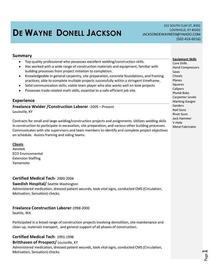unique welder resume - Google Search