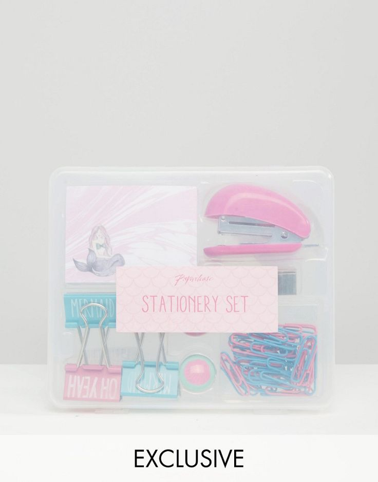Paperchase Mermaid Stationery Set Mermaid design stationery set Includes a pad of tearaway notes, four binder clips and two magnets Also includes a stapler with staples and paperclips