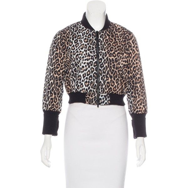 Pre-owned Elizabeth and James Cheetah Print Bomber Jacket ($125) ❤ liked on Polyvore featuring outerwear, jackets, animal print, cropped bomber jacket, print jacket, cheetah bomber jacket, patterned bomber jacket and blouson jacket