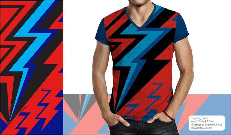 """Men's V-Neck Shirt  """"Lightning Bolts"""" by Margaret Perez on Men's V-Necks.  Visit my online portfolio:  margaretperez.com"""