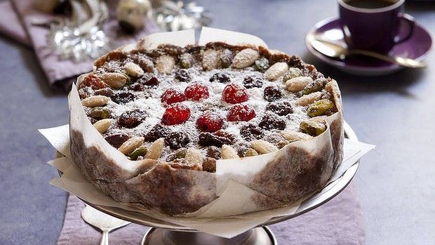 Panforte bianco with pistachios, almonds and cherries recipe.