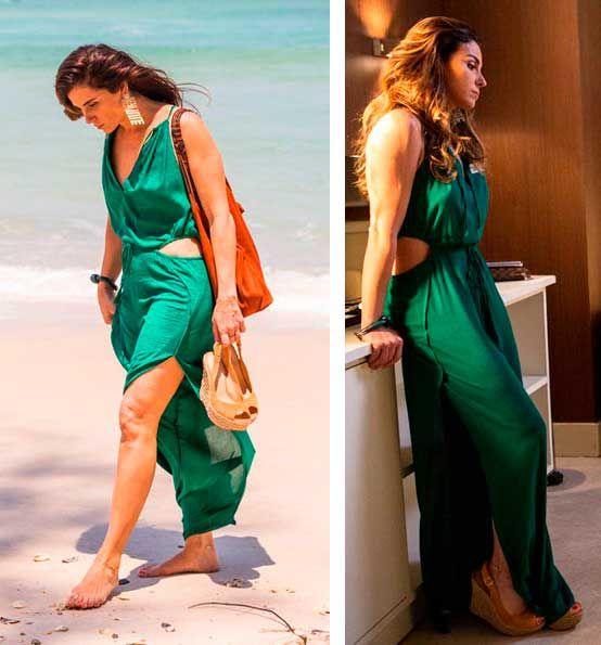 Alice (Giovana Antonelli) macacão verde , figurino Sol Nascente, brazilian soap opera