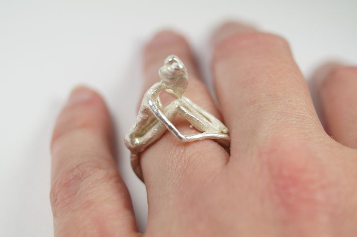 Contemplating girl, Handmade silver 925 ring for women, Inspired by micro-sculpture,  handmade by Agori Fotopoulou