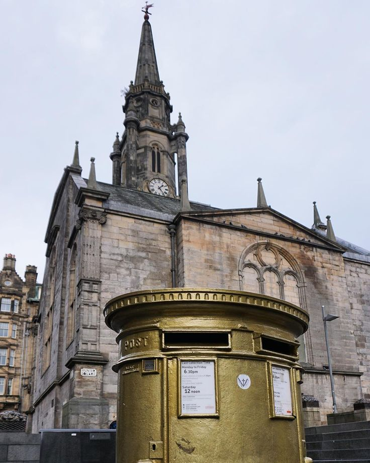 #Olympic #cyclist #ChrisHoys gold #postbox in Hunter Square #Edinburgh. Behind is #TronKirk. #culture #sport #art #architecture #history #IgersEdinburgh #VisitEdinburgh #IgersScotland #VisitScotland #travel #tourism #tourist #leisure #life