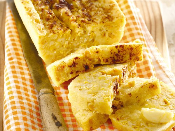 Mikrogolfmieliebrood. Microwave Corn bread