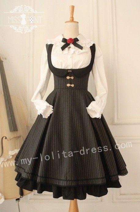 Vintage College School Style Wool Lolita Jumper Dress $65.99-Cotton Lolita Dresses - My Lolita Dress