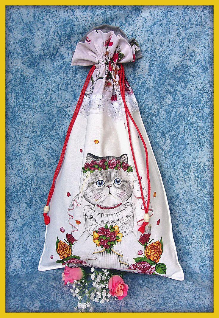Pochon (grand) en tissu motif chat en robe de mariée ! : Accessoires à accrocher par orkan28