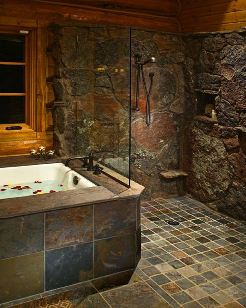 another stone shower i want this but with a curve stone wall for the shower area