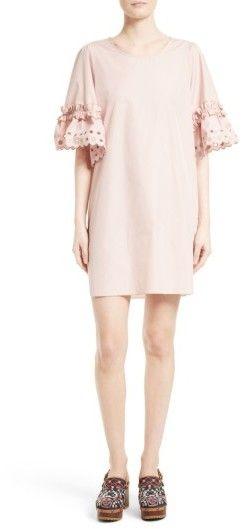 See by Chloe Women's Ruffle Eyelet Sleeve Shift Dress