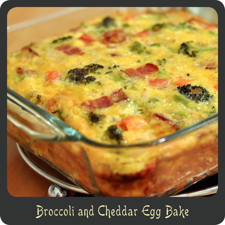 Recipe—Broccoli and Cheddar Egg Bake | Breakfast | Pinterest