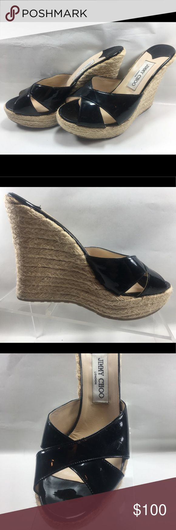 Jimmy Choo Black Patent Leather Navy Wedge Sandal Very Good Condition Some Normal Wear Including Scuffing & Minor Sole Wear See Pictures Jimmy Choo London Black Patent Leather Navy Wedge Sandals Size 9 Shoe #S221 Jimmy Choo Shoes Wedges