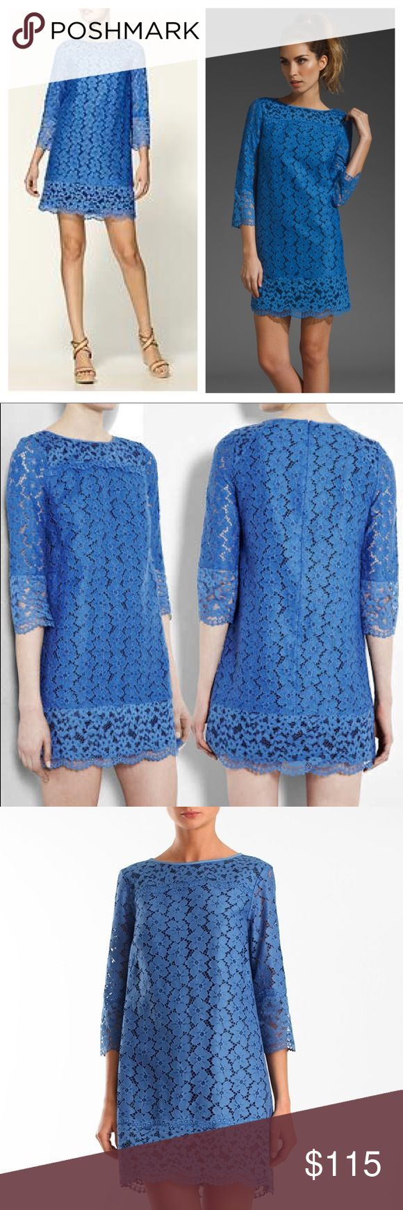"""Tibi Katya lace dress Stunning and in pristine condition! Authentic Tibi Katya blue lace dress with black lining. 3/4 length sleeves. Beautiful dress!!! Cotton and nylon. Length 34"""" pit to pit 18"""". Worn only twice. Tibi Dresses Wedding"""