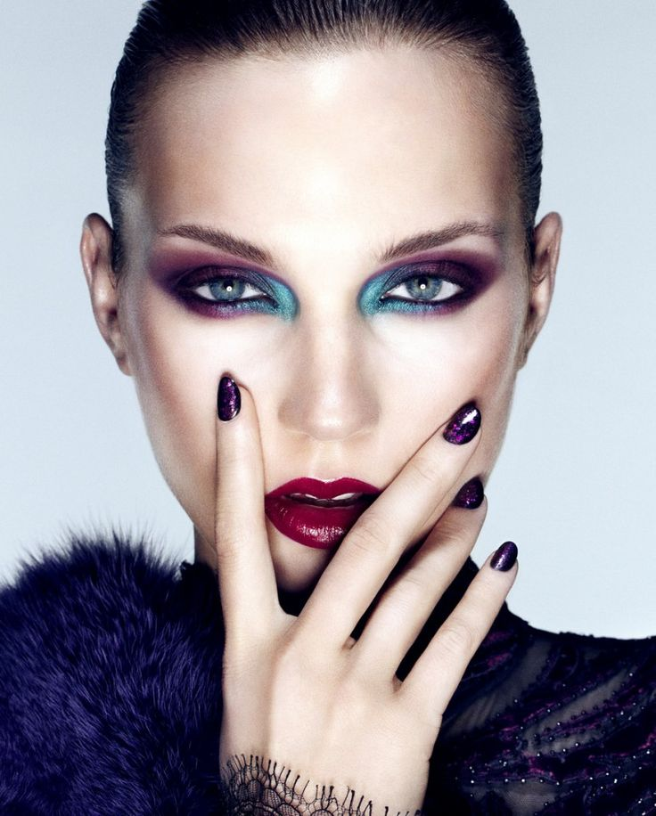 #purple + green #makeup, red lips...love the purple glittered #nails!
