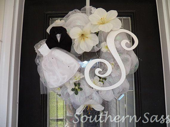 White Wedding Wreath, Shower Wreath, Decoration, Door Hanger Custom Order on Etsy, $129.99