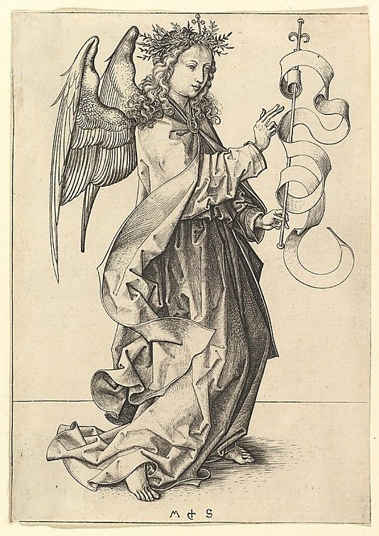 The Annunciation: The Angel by Gabriel Martin Schongauer (German, Colmar ca. 1435/50–1491 Breisach)