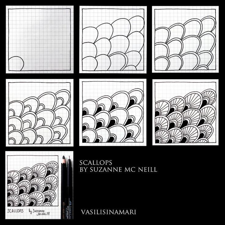 "VASILISINAMARI zentangle tutorial pattern ""SCALLOPS"" (узор зентангл)"