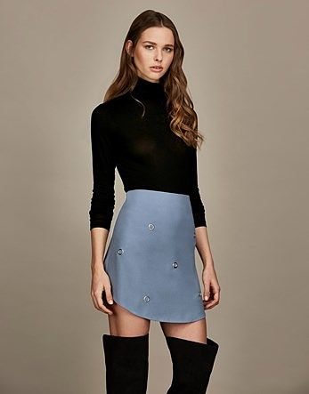 Womens light blue grey first and i eyelet embellished mini skirt from Lipsy - £20 at ClothingByColour.com
