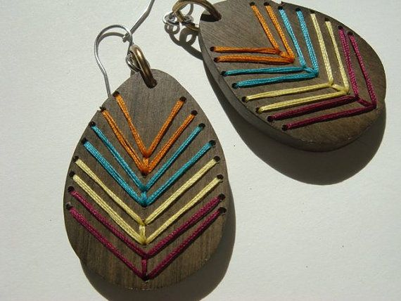 AZTECEmbroidered Wood Chevron EarringsFALL COLORS by IbbyAndRufus