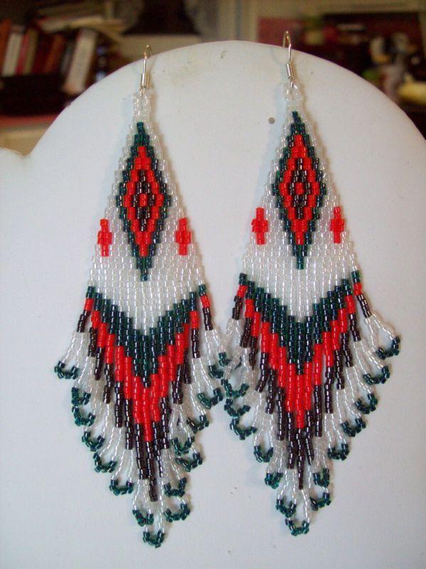 beaded watermelon earrings: Pearls, Beading Earrings, Beaded Earrings, Indian Style, Native Style, Style Beadwork, Peyote Earrings, Jewelry Earrings
