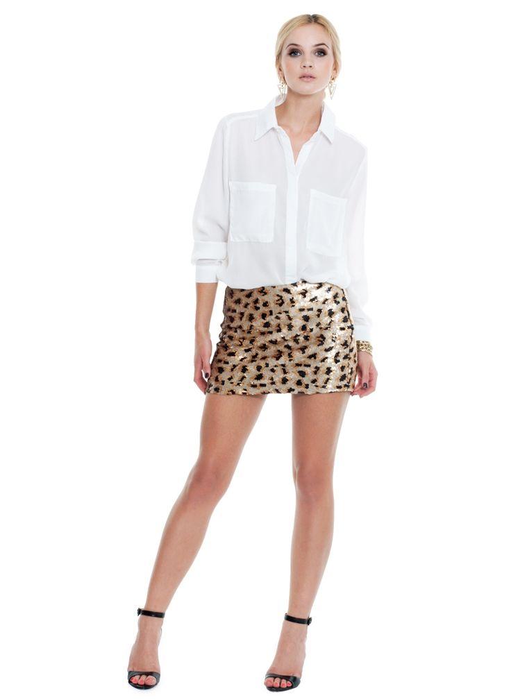 SPÓDNICA MINI CEKINY SHINE PANTERKA I SKIRT MINI ANIMAL PRINT SEQUINS I  MONASHE.PL - Sklep online z modną odzieżą. Bluzki, sukienki, torebki, obuwie, akcesoria.