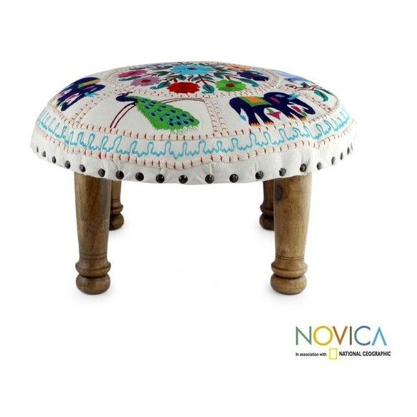 Floral Fauna Sheesham Wood with Multicolor Embroidery on Ivory Cream... ($90) ❤ liked on Polyvore featuring home, furniture, ottomans, cream furniture, fabric footstool, sheesham wood furniture, colorful furniture and embroidered footstool