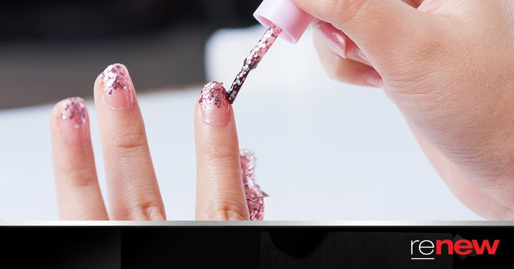 Got a big meeting or an important event and don't have time to touch up your chipped nail polish? Use glitter nail polish to cover up your chipped nails and add a bit of sparkle to you look. #Nails
