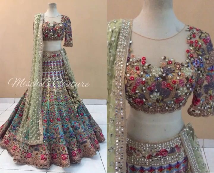 Surreal Summer bridal lehenga by MischB Couture