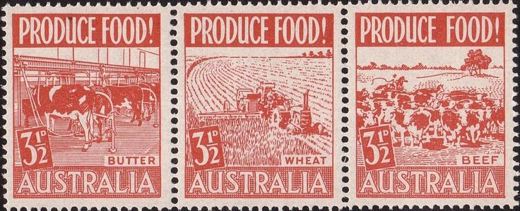 ACSC 292c) 1953. Food Production. 3½d. Perforation 14½. No watermark. Se-tenant strip of 3. Scarlet